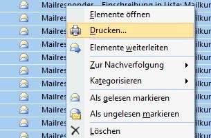 outlook mails drucken