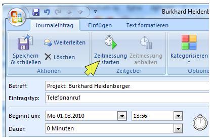 Outlook Zeitmessung