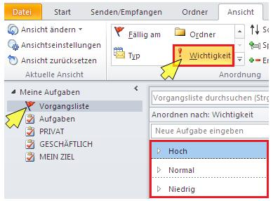 prioritäten in outlook