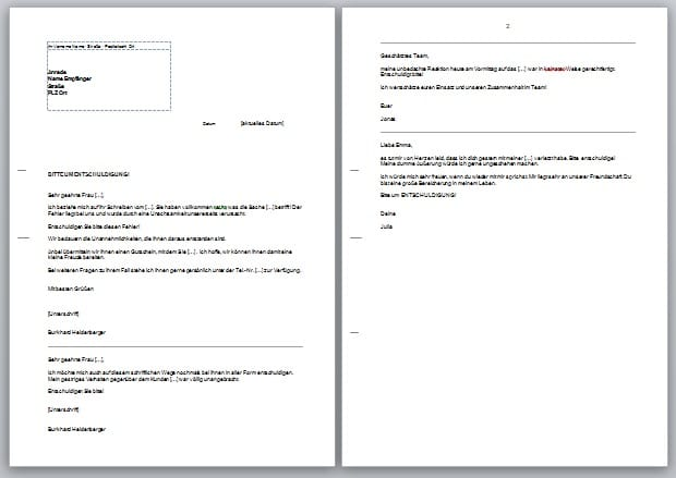 artikel geschaeftsbrief entschuldigungsschreiben kunden formulieren