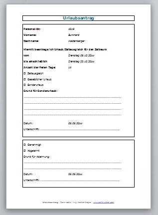 Neu Urlaubsantrag Excel Briefprobe Briefformat 3